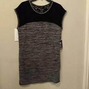 Express black lace and grey marl dress NWT